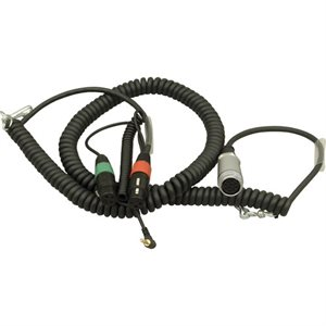 Ambient Recording Coiled mixer / camera loom, 2x XLR-3F + 3.5 mm TRS + HBY7-35W