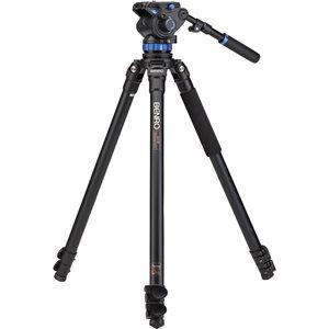 A373F Series 3 AL Video Tripod & S7 Head - 75mm Half Ball Adapter, 3 Leg Sections, Flip Lock Leg Rel