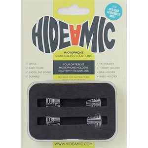 Hide-a-mic set 4 different holders in case, Transparent