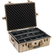 PELICAN # 1600 CASE WITH PADDED DIVIDER SET - DESERT TAN