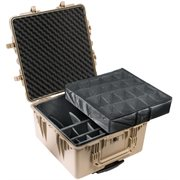 PELICAN # 1640 CASE WITH PADDED DIVIDER SET - DESERT TAN