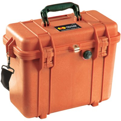 PELICAN # 1430 CASE WITH OFFICE DIVIDER AND LID ORGANISER - ORANGE