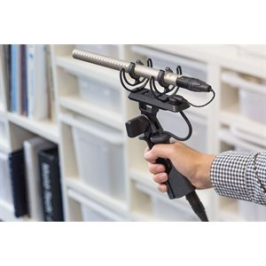 RODE Rycote Lyre suspension mount for shotgun microphones with integrated pistol grip.